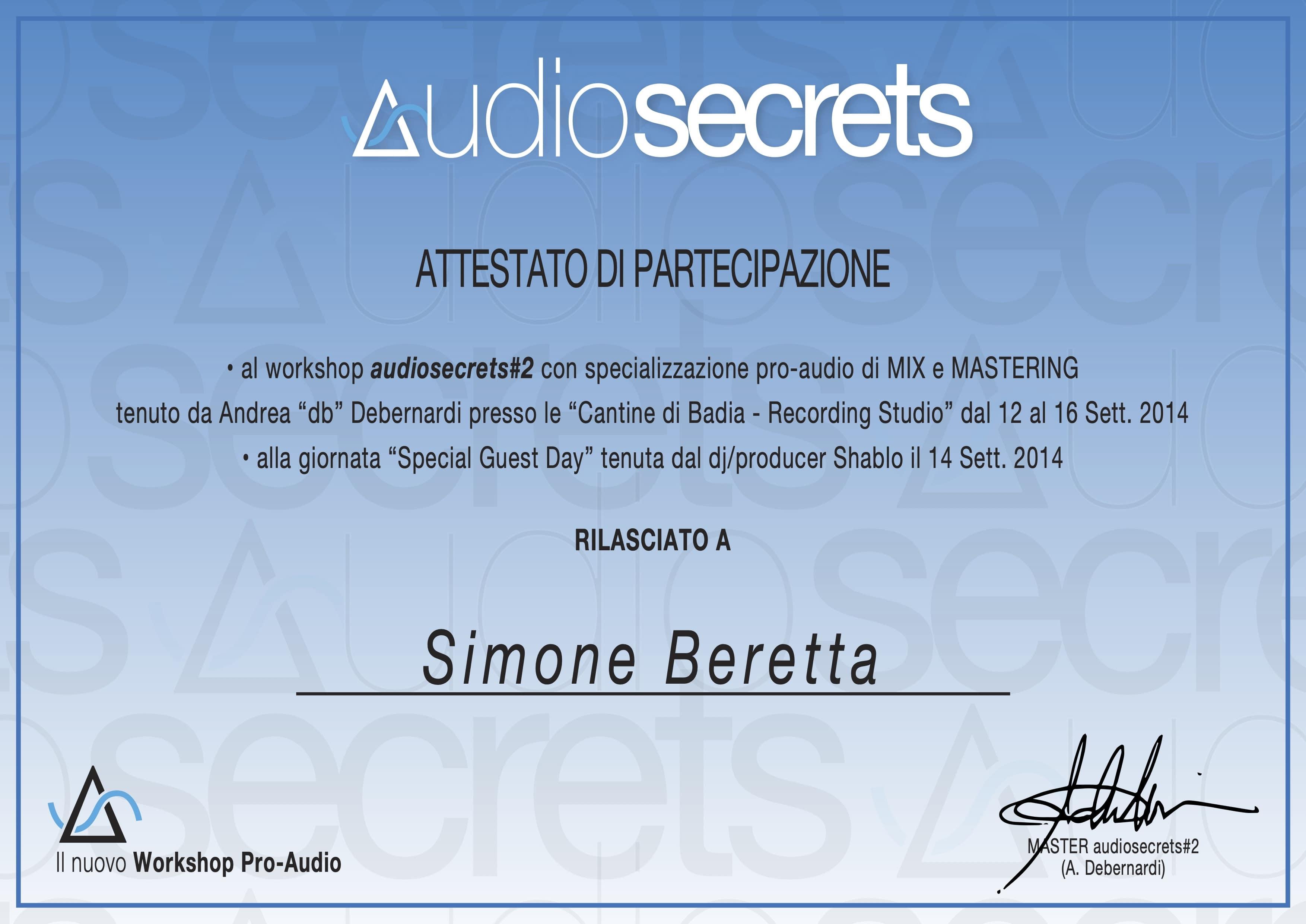 Attestato Audiosecrets#2 - Simone Beretta